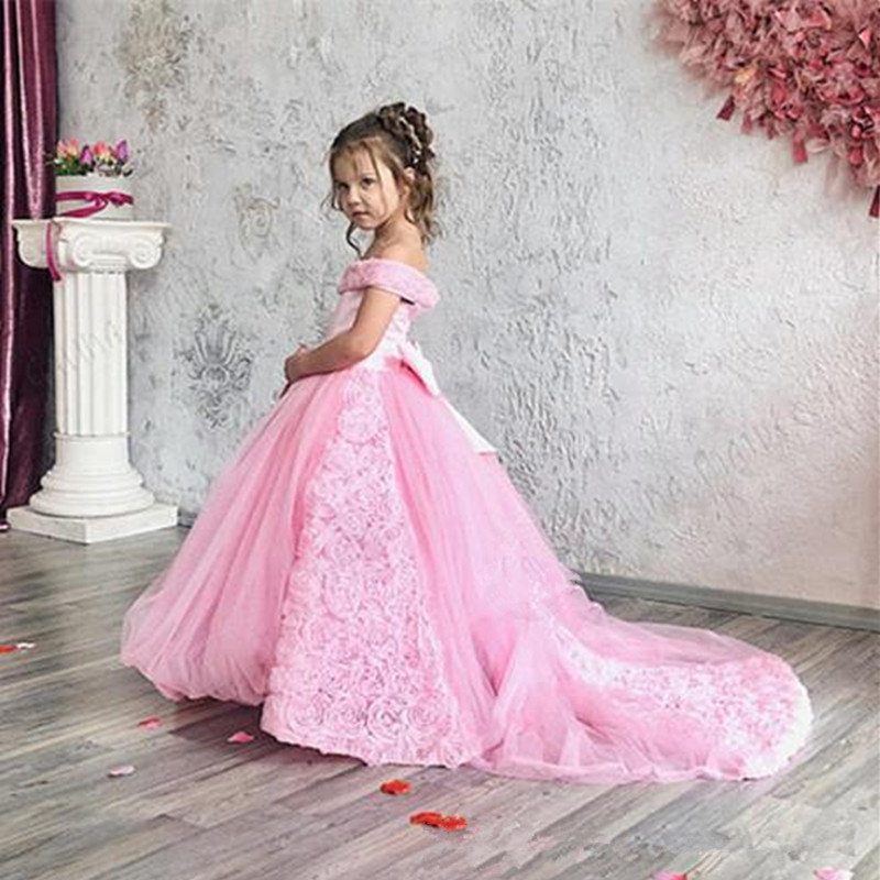 555Blush Pink Flower Girl Dress Cute 3D Flowers Princess Party Gown Luxury Ball Gown Girl Formal Wedding Pageat Dresses