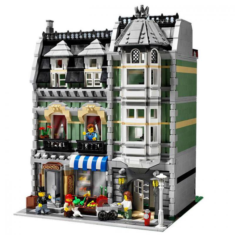 legoinglys DHL City Street view <font><b>15008</b></font> compatible 10185 Green <font><b>Grocer</b></font> Model Building Kits Block Bricks Educational toy for kids image