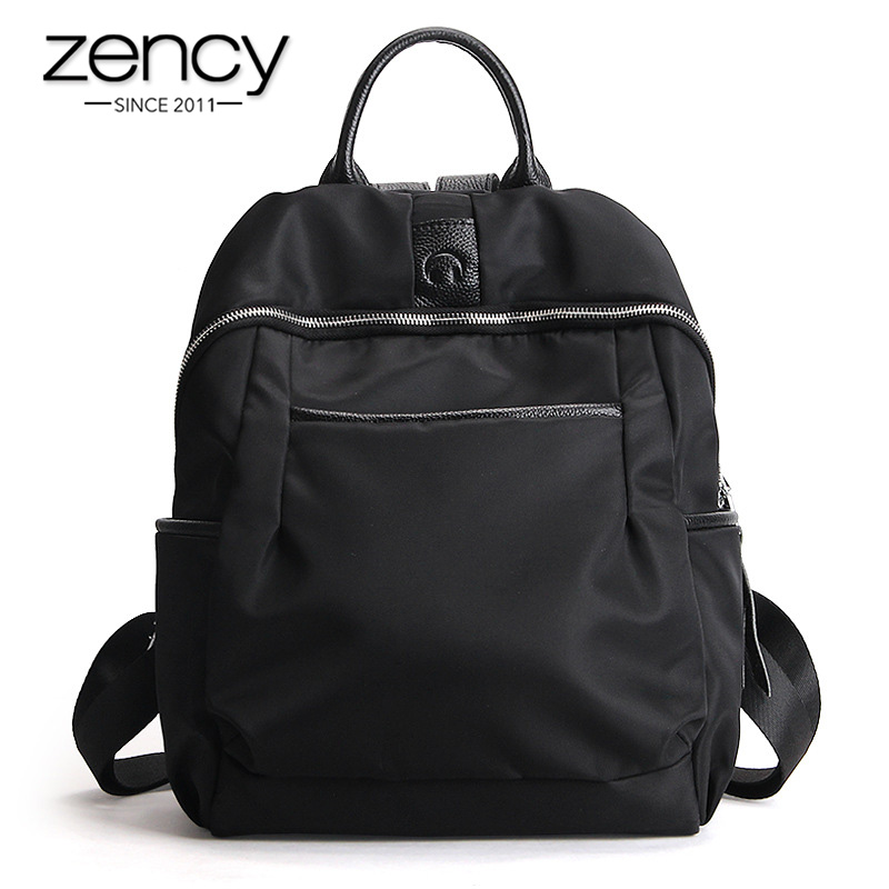 Zency Waterproof Oxford Women Backpack Classic Black Fashion Lady Knapsack Canvas Schoolbag Daily Casual Travel Bag