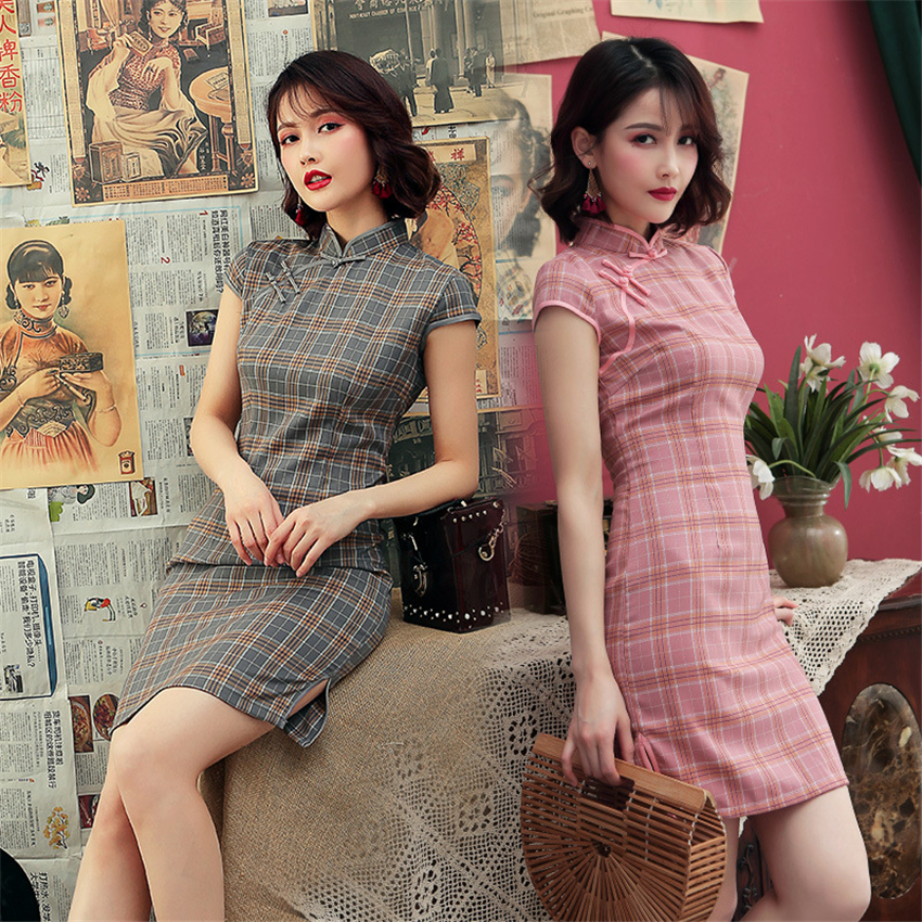 Chinese Dress Satin Vintage Plaid Women Oriental Robe Cheongsam Modern Qipao Female China Elegant Casual Party New Year Clothes