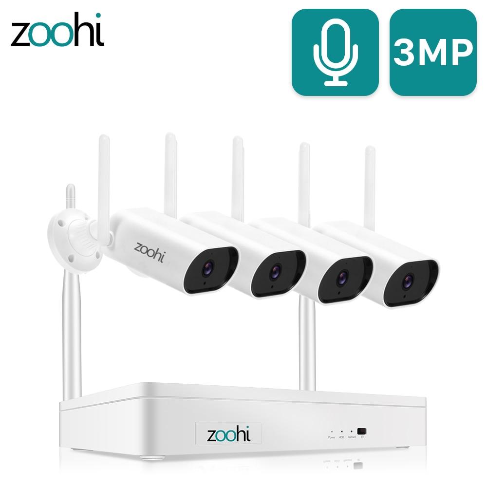 Система видеонаблюдения Zoohi 3MP HD Wifi камера звукозапись домашняя система ночного видения наружная камера безопасности