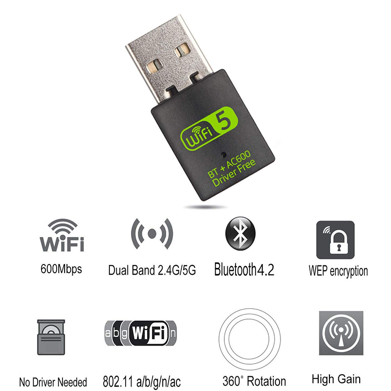 USB WiFi Bluetooth Adapter 600Mbps Dual Band 2.4/5Ghz Wireless External Receiver Mini WiFi Dongle for PC/Laptop/Desktop 3