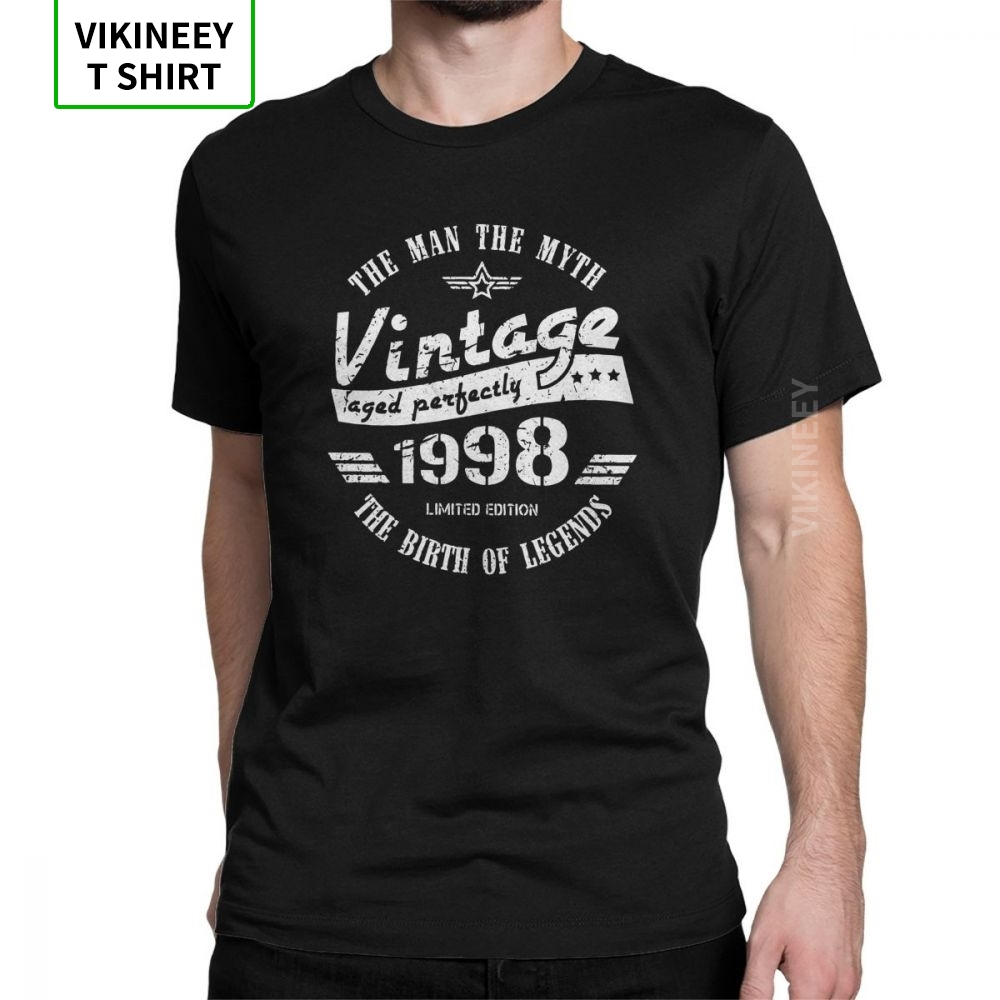 Vintage 1998 21st urodziny t-shirty prezent dla mężczyzn Vintage rocznica T Shirt dla mężczyzn ubrania z krótkim rękawem koszulki bawełniane