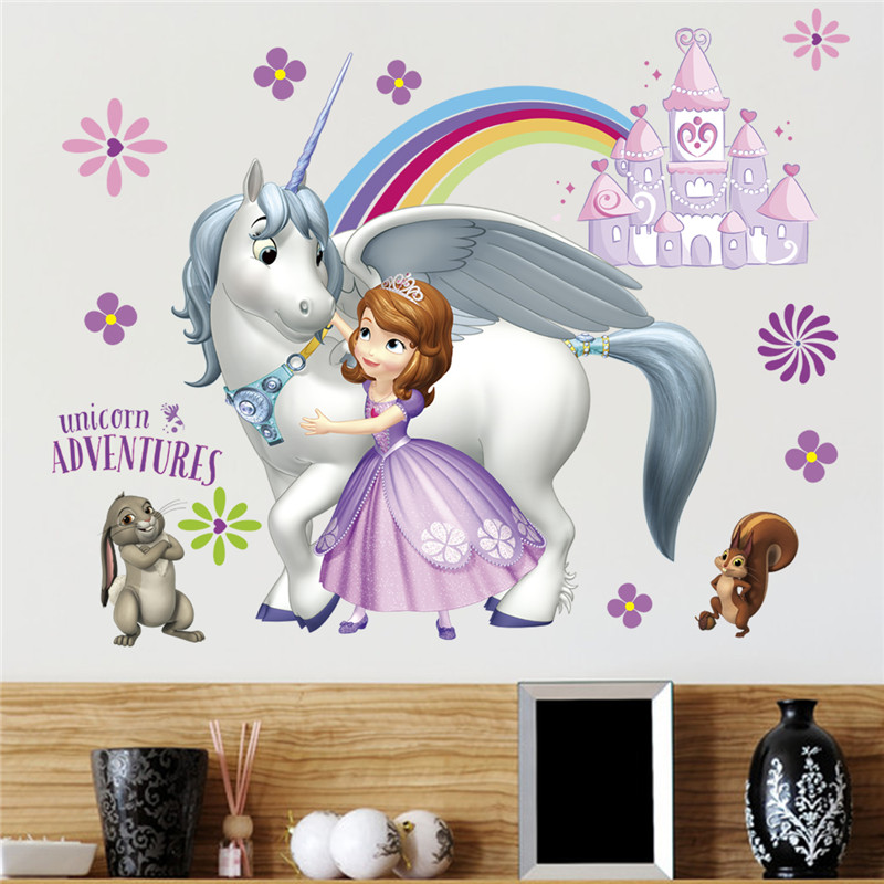 Large Colorful Princess Castle Wall Stickers Vinyl Decal Girls Kids Bedroom Art
