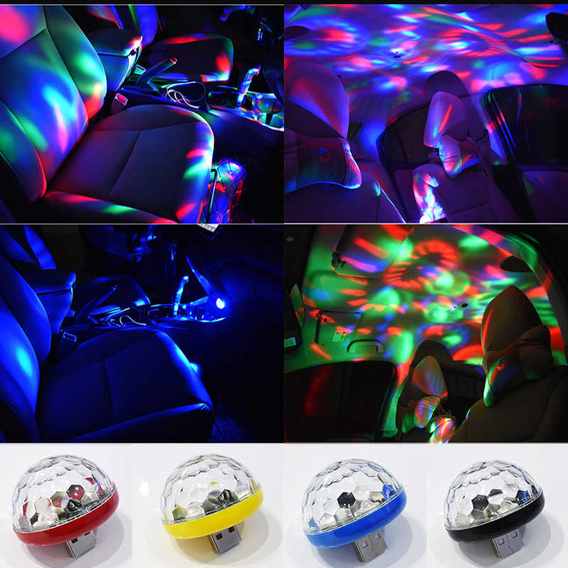 USB Mini Disco Bühne Lichter Led Xmas Party DJ Karaoke Auto Decor Lampe Handy Musik Control Kristall Magic Ball Bunte licht