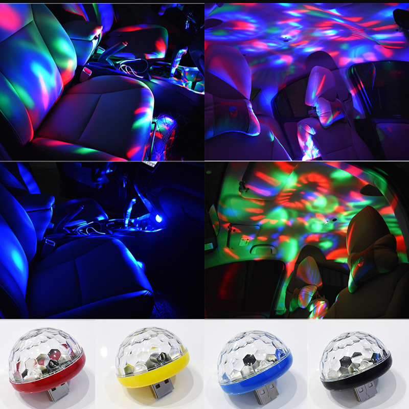 Usb mini disco luzes do palco led festa de natal dj karaoke decoração do carro lâmpada controle música celular cristal bola mágica luz colorida