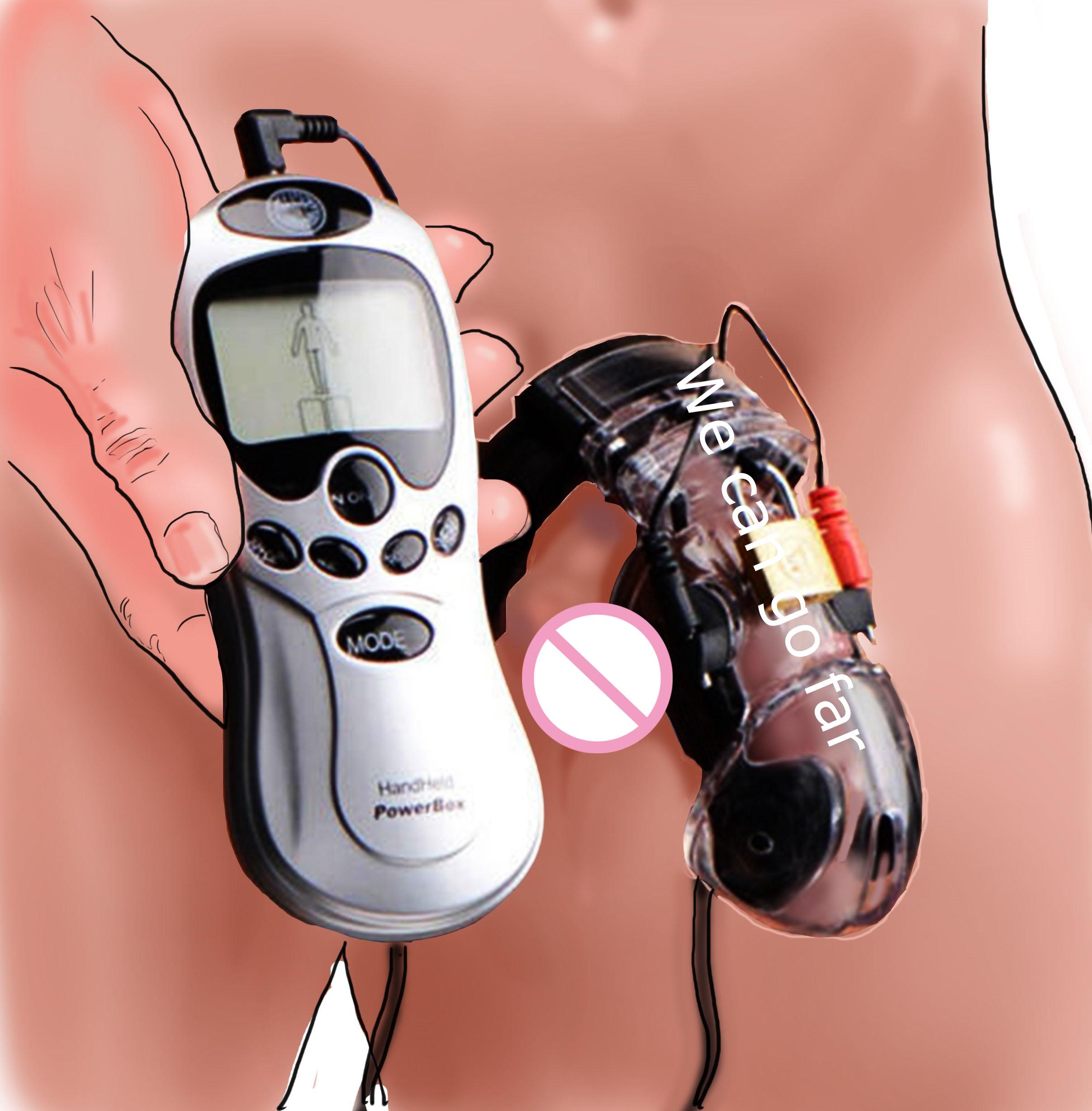 CB6000 Male Chastity Device, Estim Ball Stretcher Scrotum Ring Delay Lock,Electro Shock Cock Cage Sex Toys For Men