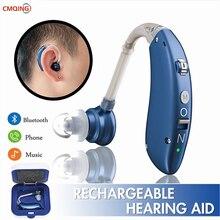 Adjustable Bluetooth Hearing Aid Audiphone BTE Sound Amplifier Deaf Old Man Elderly Listen Music Calls Watching TV Chat