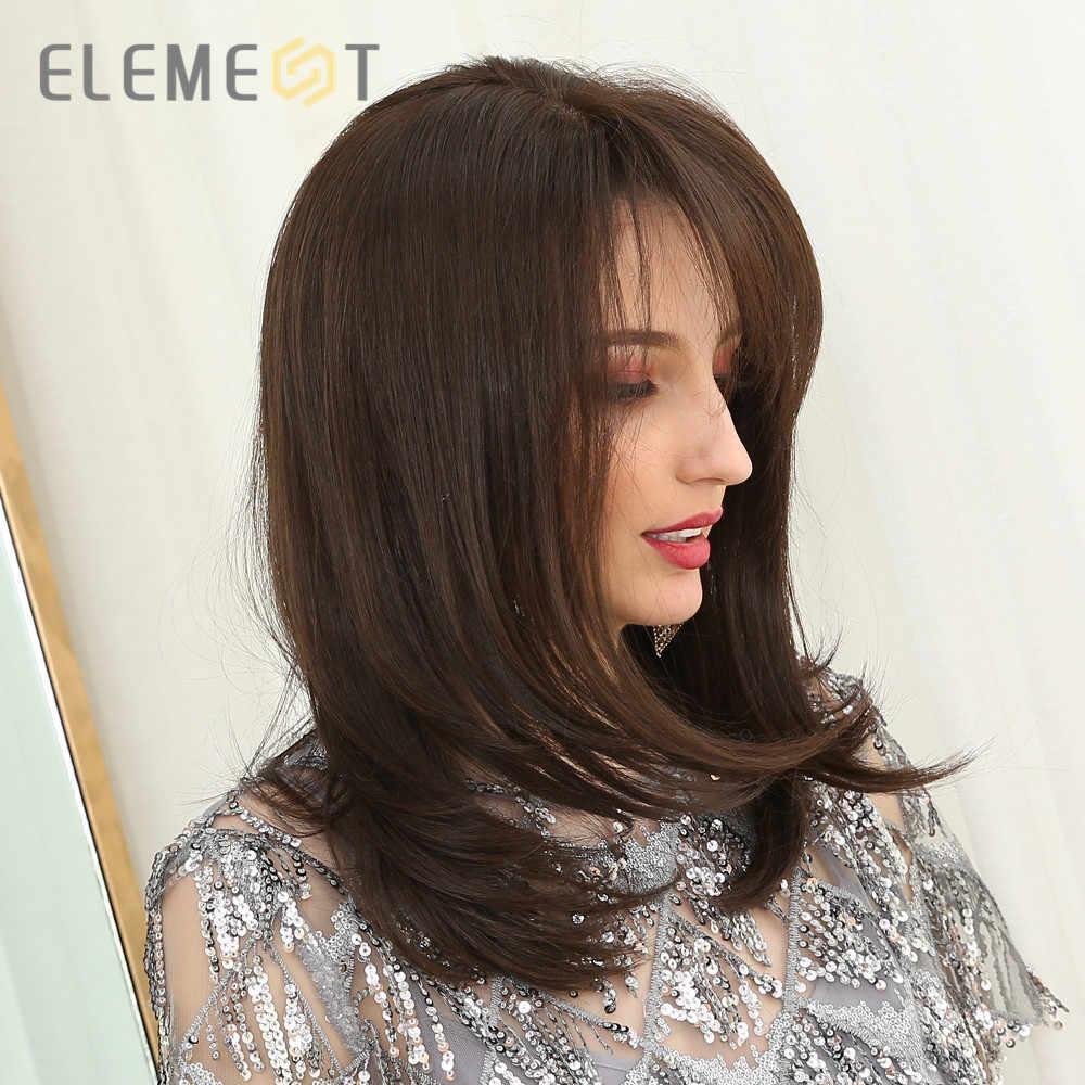 Element średniej długości syntetyczna prosta naturalna brązowa peruka z bocznymi grzywkami żaroodporne peruki na przyjęcie dla białych/czarnych kobiet