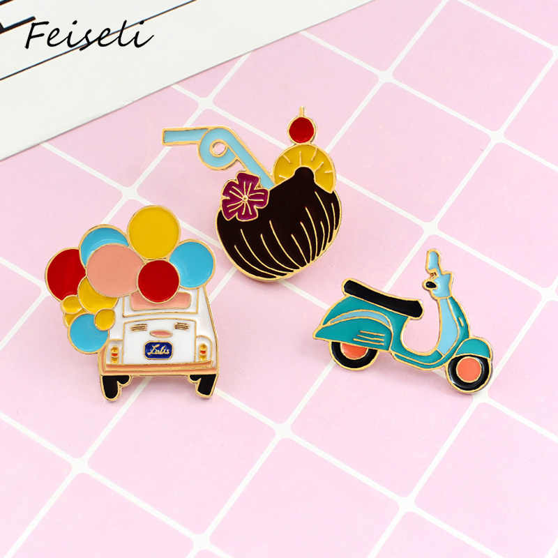 Feiseli Cartoon Ballon Bus Motorfiets Sap Drinken Broche Voor Vrouwen Leuke Emaille Zomer T-shirt Hoed Decor Metalen Badge Revers pins