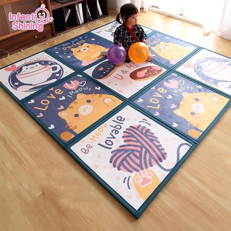 tapis de sol cousu pour bebe puzzle tapis de sol tatami en mousse epaisse anti chute 2cm