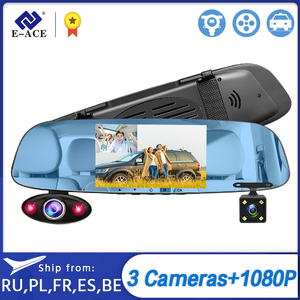 E-ACE A44 Dvr Dash Camera 5 Inch 3 Camera Lens Dvr Mirror FHD 1080P Auto Video Recorder Dual Lens support Rear View Camera(China)