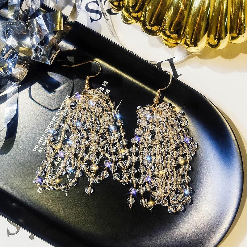 FYUAN Long Tassel Crystal Drop Earring Bijoux Exquisite Rhinestone Dangle Earrings for Women Statement Earrings Jewelry Gifts in Drop Earrings from Jewelry Accessories