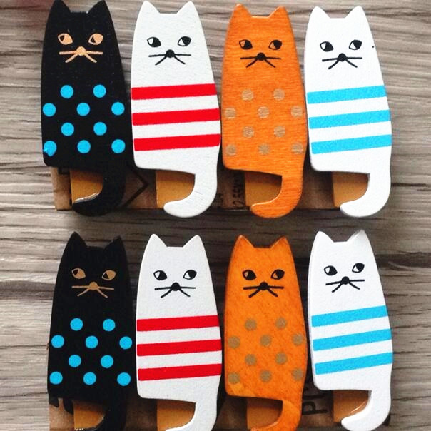 4pcs/lot New Lovely Cat Clothespin Craft Decoration Wooden Clips Ornament