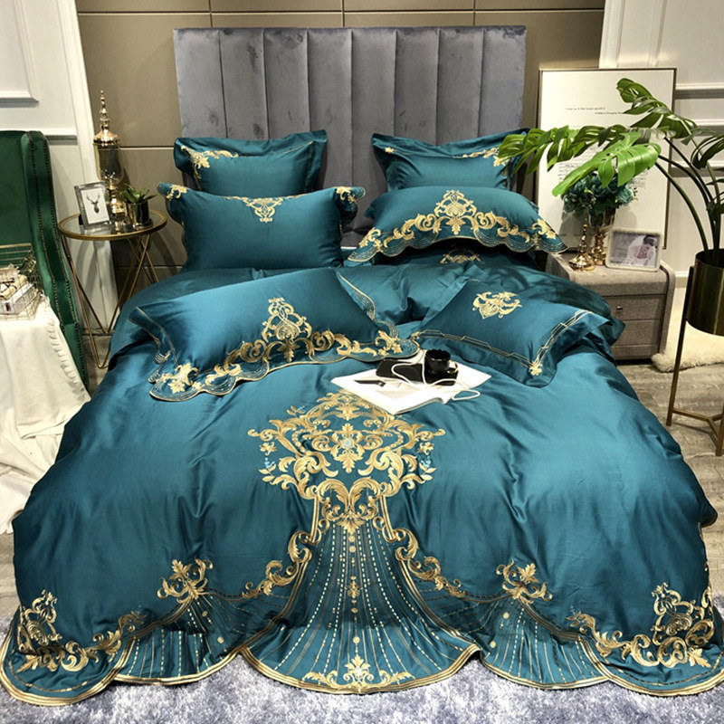 Комплект постельного белья из хлопка и сатина с длинным штапельным слоем и зеленой вышивкой, пододеяльник королевского размера, простынь, р
