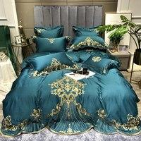 High grade Green Embroidery Long staple Cotton Satin Bedding Set Queen King Duvet Cover Set Sheet European Palace Luxury 4pcs