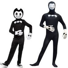 Game Bendy Cosplay Costume Jumpsuit Zentai Bodysuit Halloween Fancy Dress