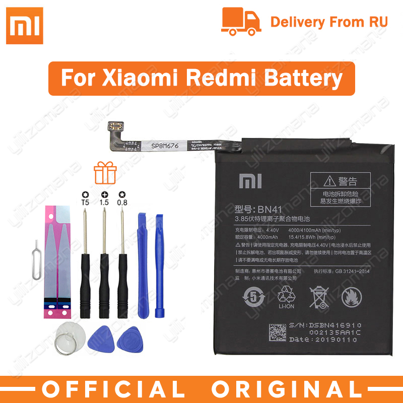 Xiao <font><b>Mi</b></font> BN41 Original Phone <font><b>Battery</b></font> For <font><b>Xiaomi</b></font> Redmi Note <font><b>4</b></font> 4X 3 Pro 3S 3X 4X <font><b>Mi</b></font> 5 BN43 BM22 BM46 BM47 Replacement <font><b>batteries</b></font> image