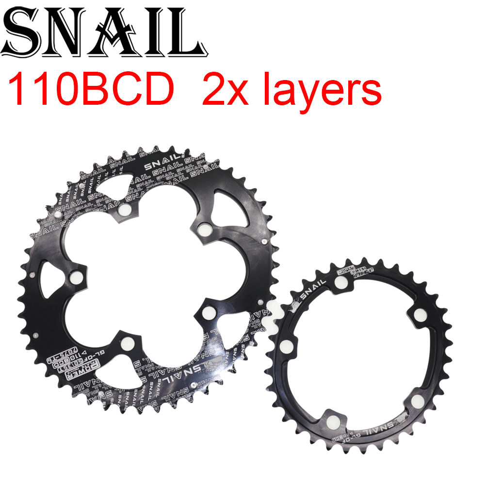 Snail <font><b>110</b></font> <font><b>BCD</b></font> <font><b>Oval</b></font> 50t 35T Double <font><b>Chainring</b></font> 2 Layer Speed for Shimano Road Folding Bike Ultralight Bicycle Tooth plate image