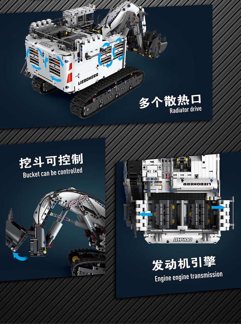 Tương Thích Với Lepined Technic Series 42100 Viên Gạch Liebherrs Máy Xúc R9800 Động Cơ Xe Ô Tô Bộ Mô Hình Khối Xây Dựng Tự Làm Đồ Chơi