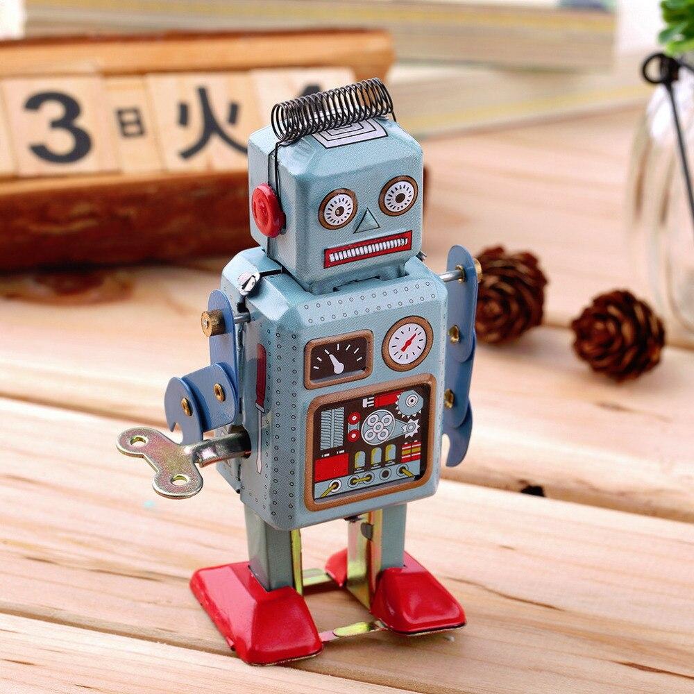 OCDAY 1pc Vintage Mechanical Clockwork Robot Wind Up Metal Walking Robot Action Finger Tin Toys For Children Kids Gift Hot Sale