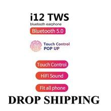 Tws i12 fones de ouvido sem fio bluetooth 5.0 toque chave fone mini com microfone caixa carregamento esporte fone caber todos os telefones