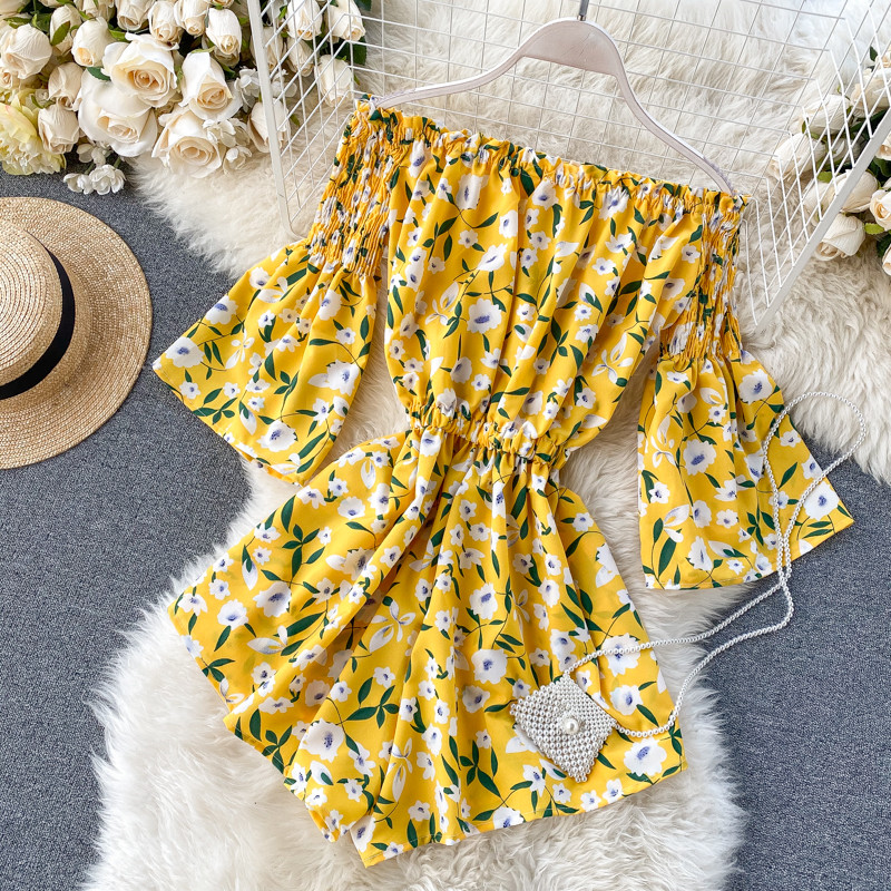 Chiffon Print Elegant Jumpsuit Women Summer 2020 Off Shoulder Trumpet Sleeve Slash Neck Rompers Women Jumpsuit Short Playsuit 10