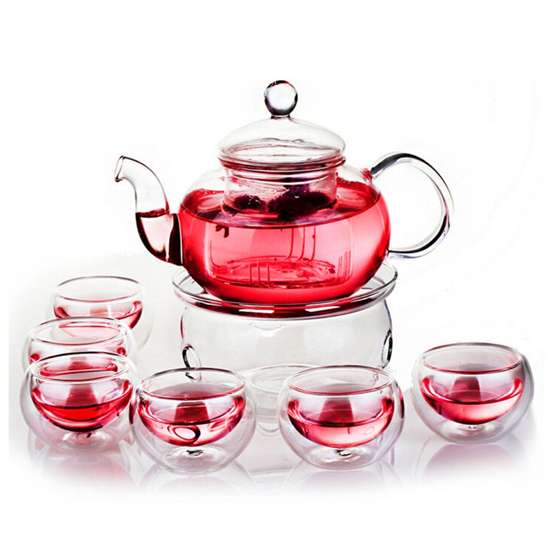 800ML Borosilicate Heat-resistant Glass Tea Pot Set Infuser Teapot Warmer With Strainer Flowers 6 Double Wall Teaware Home Gift