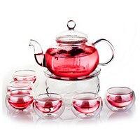 800ML Borosilikat Wärme-beständig Glas Tee Topf Set Infuser Teekanne Wärmer Mit Sieb Blumen 6 Doppel Wand Teegeschirr hause Geschenk