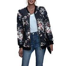 Женская Осенняя куртка-бомбер с воротником-стойкой и принтом, повседневное пальто на молнии с длинным рукавом, верхняя одежда, повседневный...