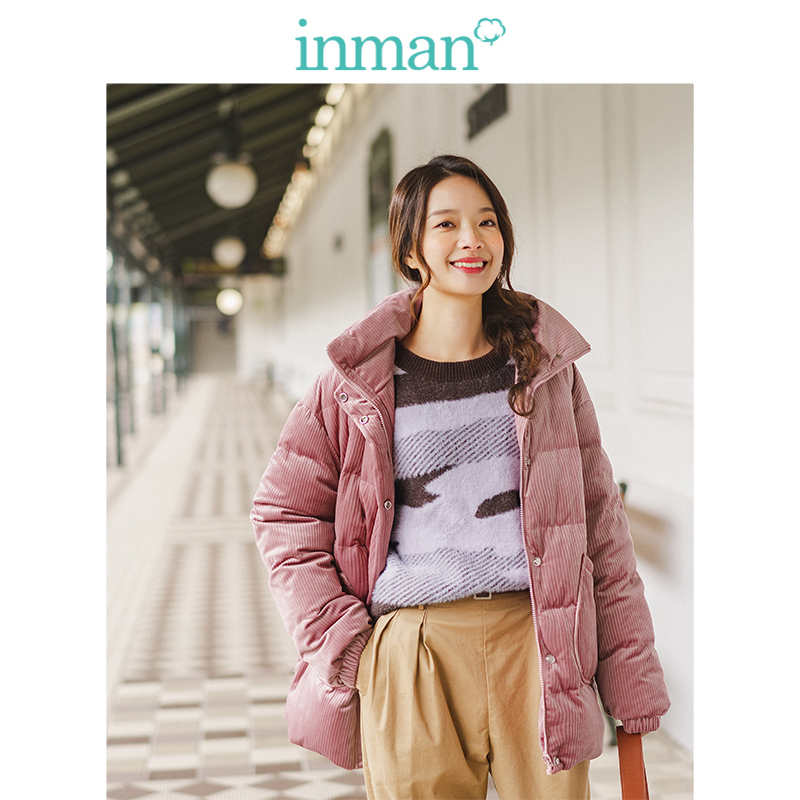 INMAN 2019 Winter New Arrival Fashion Lacing Loose All Matched Fashion Short Women Downcoat