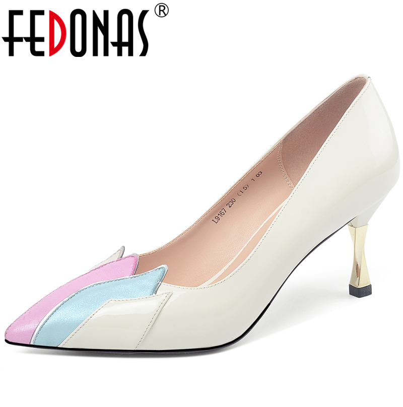 FEDONAS Party Wedding Women Elegant Concise Mixed Colors Cow Patent Leather Shoes Pointed Toe Strange Heels Shallow Shoes Woman