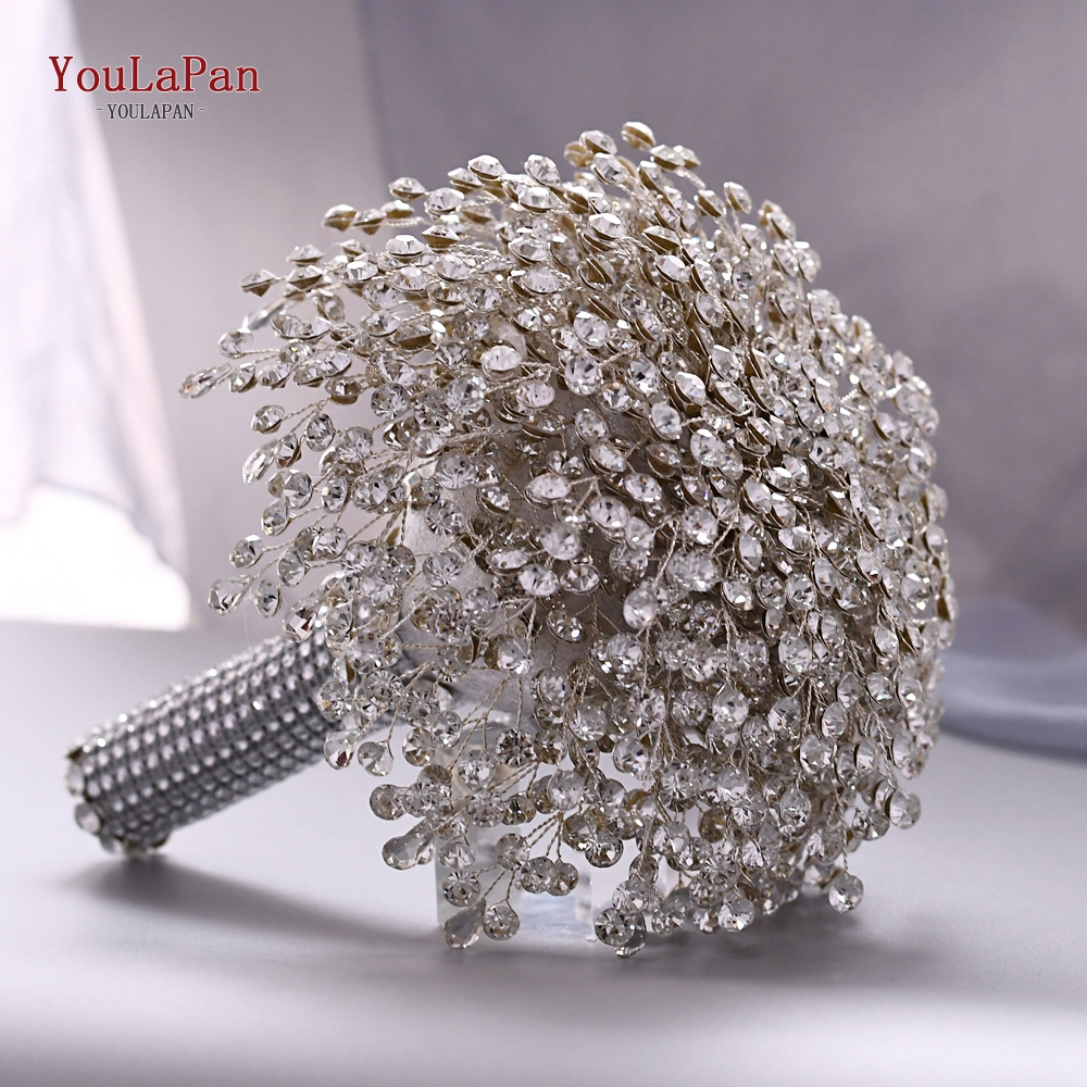 YouLaPan HF02 Hand Made Wedding Bouquet Wedding Accessories Bridesmaid Flower Brooch Bouquet Sliver Crystal Flower Bouquet