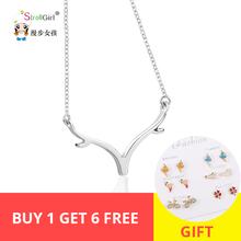 2018 original Freeshipping Cute Deer horn Necklace Girl 925 Sterling Silver  Pendant For Women Fashion Jewelry G