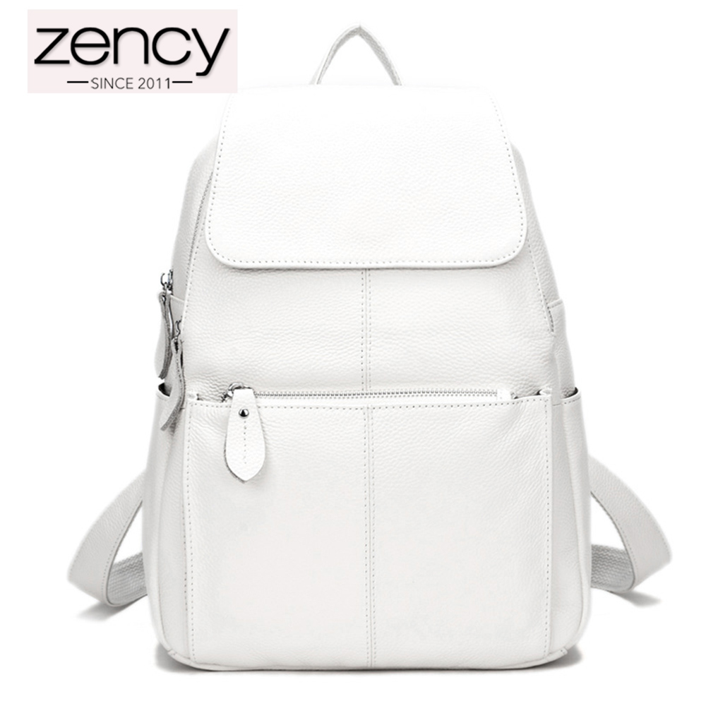 Zency 100% Genuine Leather Women Backpack Fashion Ladies Travel Bag Preppy Style Schoolbags For Girls Laptop Knapsack