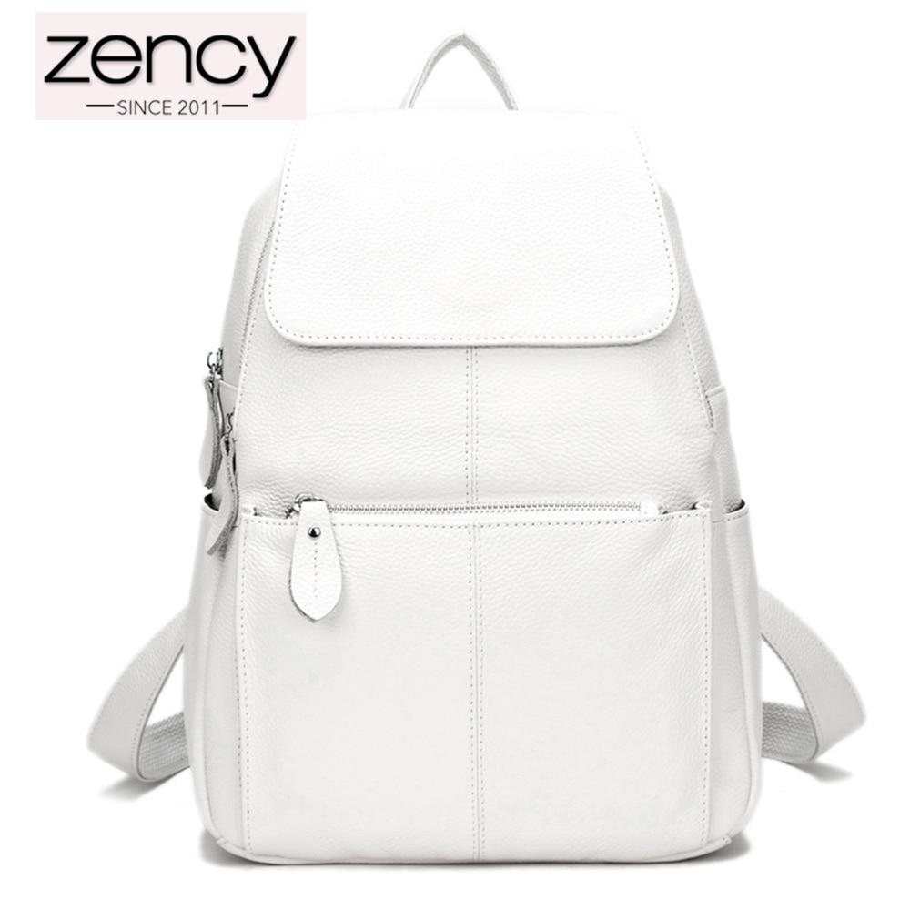 Zency 100% Genuine Leather Women Backpack Fashion Ladies Travel Bag Preppy Style Schoolbags For Girls Laptop Knapsack