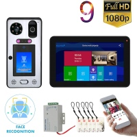9 Touch Screen Wifi Wireless Face Recognition Fingerprint IC Video Door Phone Doorbell Intercom System with Wired 1080P Camera