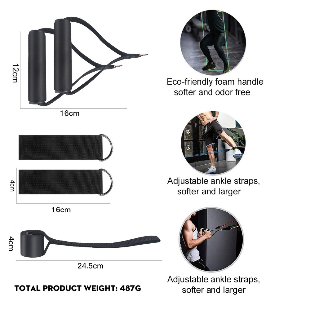 Resistance Bands Set Exercise Bands with Door Anchor Legs Ankle Straps for Resistance Training Physical Therapy Home Workouts 3