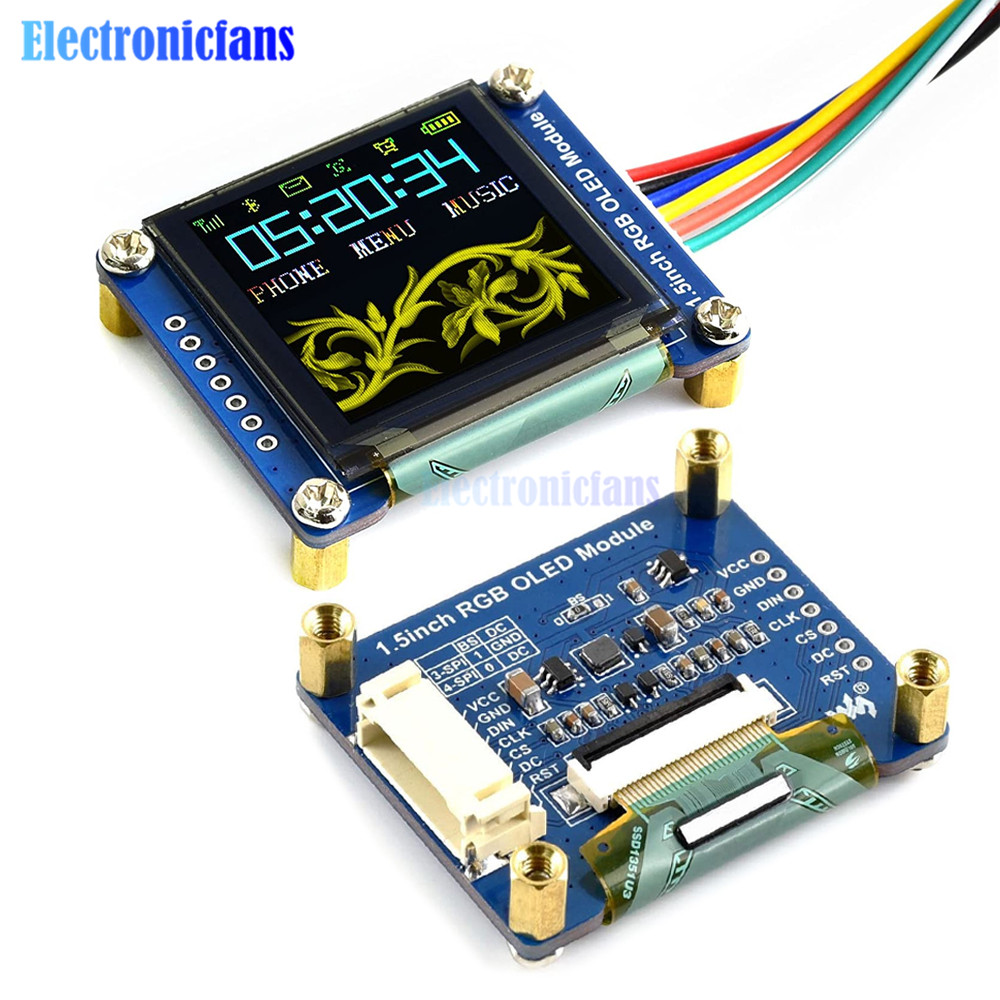 1.5inch RGB OLED Screen Display Module SSD1351 Driver 128X128 16-bit High Color Display Supports For Raspberry Pi /Arduino/STM32