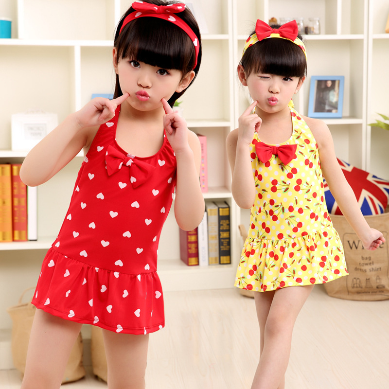 Hot Selling High Quality South Korea Cute One-piece Big Boy GIRL'S Bow Hair Bands CHILDREN'S Swimwear One-piece Swimming Suit