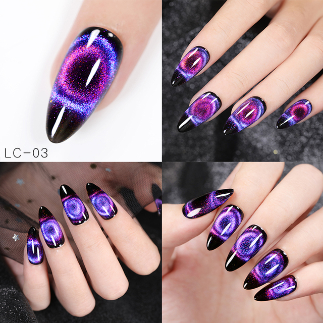 LILYCUTE  9D Chameleon Holographic Glitter Cat Eye Nail UV Gel