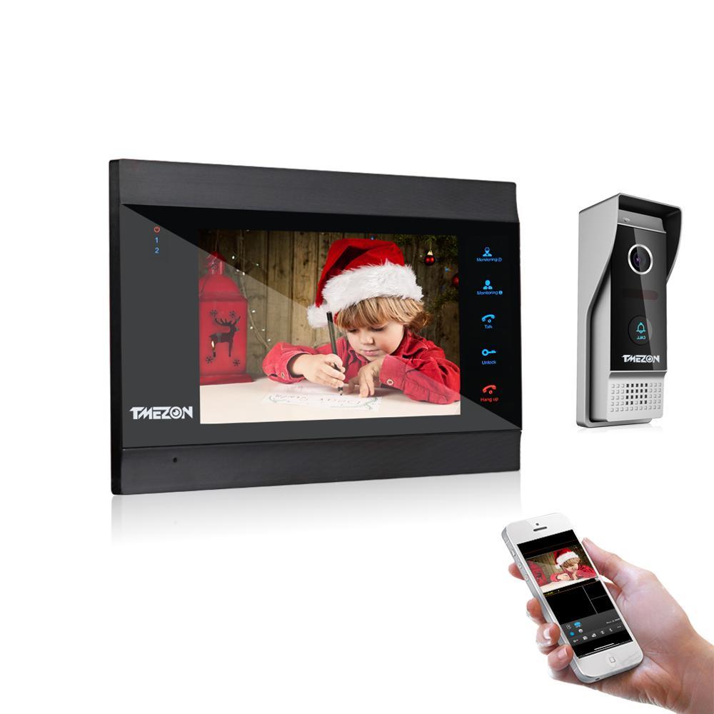 TMEZON 7 Inch Draadloze WiFi Smart IP Video Deurtelefoon Intercom Systeem Met 1x1200TVL Bedrade Deurbel Camera, Ondersteuning Remote Unlock