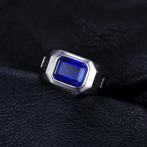 Image 3 - Bijoux 4.3ct noir spinelle créé saphir bague 925 en argent Sterling anneaux pour hommes anneaux de mariage argent 925 pierres précieuses bijoux