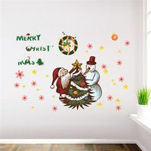 Christmas Wall Stickers Wall Decorations Living Room Cartoon Wall Window Stickers Muraux Pour Enfants Chambres 30OCT16(China)