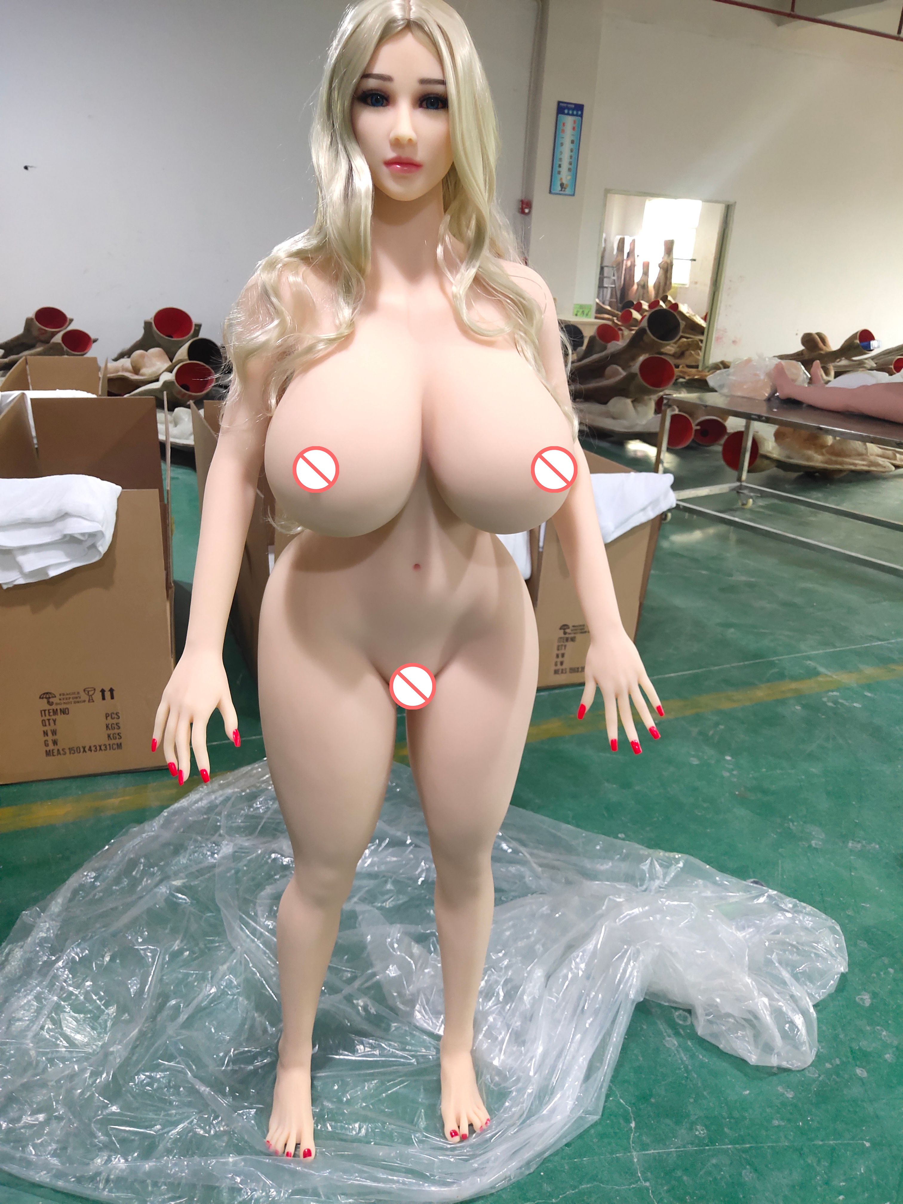<font><b>159cm</b></font> Huge Breasts Chubby Silicone <font><b>Sex</b></font> <font><b>Dolls</b></font> for man <font><b>sex</b></font> American Europe style fat ass fat hip standing feet blonde hair-Natural image