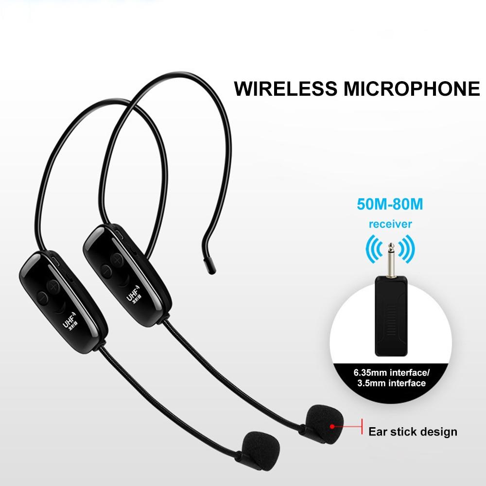 Cabeça-montado uhf microfone sem fio um arrastar dois anti-interferência microfone transmissor sem fio receptor desempenho ao ar livre mic