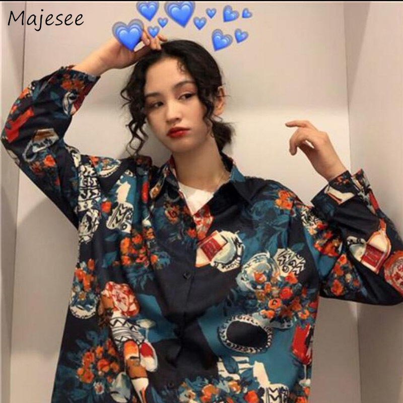 Shirts Women Vintage Turn-down Collar Printed Womens Clothing BF Loose Simple Casual Ulzzang All-match Chic Fashion Shirt New