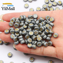 100-500Pcs 7mm Gray Gold Mixed Alphabet/Letter Acrylic Beads Round Flat Loose Beads For Jewelry Making Diy Bracelet Necklace