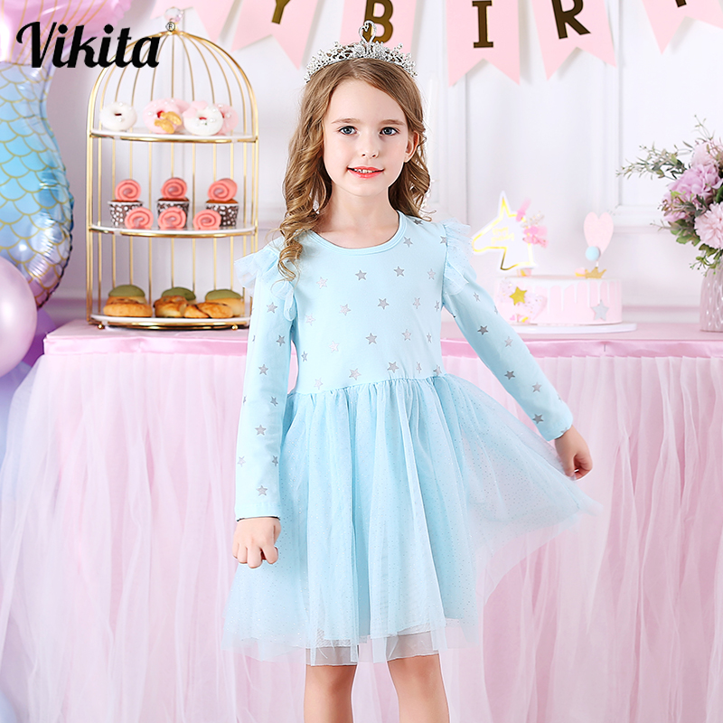 VIKITA Kids Long Sleeve Dresses for Girls Party Dress Star Printed Birthday Tutu Dresses Children Casual Wear Princess Vestidos 1
