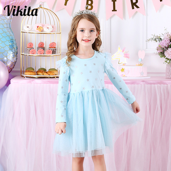 VIKITA Kids Long Sleeve Dresses for Girls Party Dress Star Printed Birthday Tutu Dresses Children Casual Wear Princess Vestidos vikita girls unicorn dress princess tutu dress for girls children birthday party licorne vestidos kids autumn winter dresses
